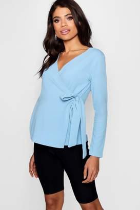 boohoo Maternity Crepe Long Sleeve Wrap Top