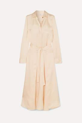 Rosetta Getty Apron Wrap-effect Satin Midi Dress - Cream