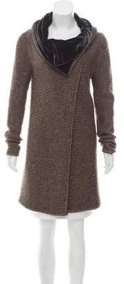 Etro Velvet-Trimmed Wool & Cashmere-Blend Cardigan