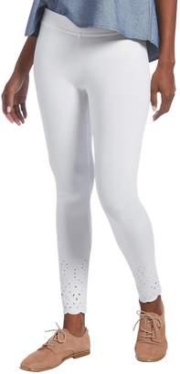 Hue Women's Eyelet Embroidered Hem Cotton Skimmer Legging