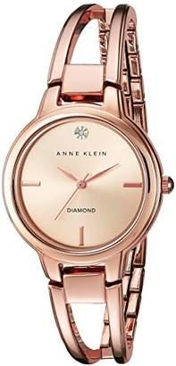 Anne Klein Women's AK/2626RGRG Diamond-Accented Dial -Tone Open Bangle Watch