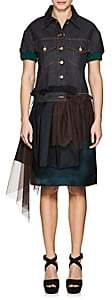 Kolor WOMEN'S MIXED-MEDIA DENIM SHORT-SLEEVE DRESS-DARK DENIM SIZE 2 JP