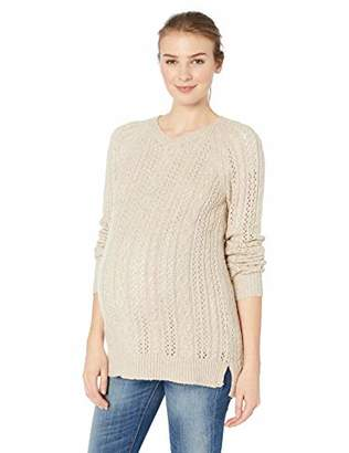 Motherhood Maternity Women's Maternity Long Sleeve Crew Neck Cable Knit Sweater,Extra