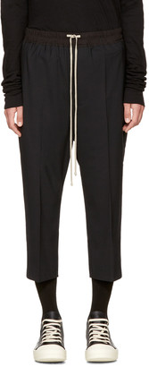 Rick Owens Black Drawstring Cropped Astaires Lounge Pants $940 thestylecure.com