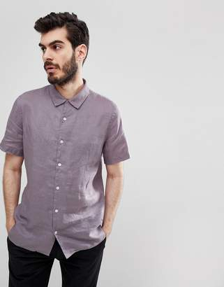 Paul Smith Linen Short Sleeve Shirt In Lilac