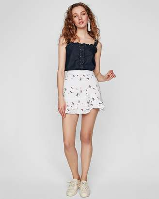 Express Floral Embroidered Eyelet Ruffle Wrap Mini Skirt