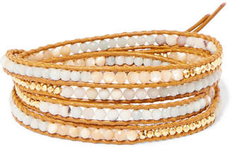 Chan Luu Leather, Gold-plated And Amazonite Wrap Bracelet - one size