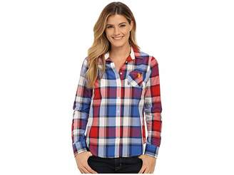 U.S. Polo Assn. Plaid Poplin Single Pocket Woven Shirt Women's Long Sleeve Button Up