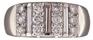 Vintage Antique Art Deco Platinum with 0.54ct Baguette Round Band Ring Size 5