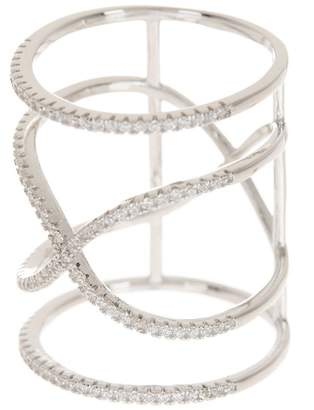 Sterling Silver Pave CZ Caged X Ring
