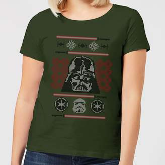 Star Wars Darth Vader Face Knit Women's Christmas T-Shirt