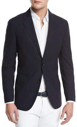 Ermenegildo Zegna Soft Check Two-Button Sport Coat, Navy Check