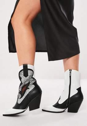 Missguided Black Western Snake Pattern Cowboy Ankle Boots, Black