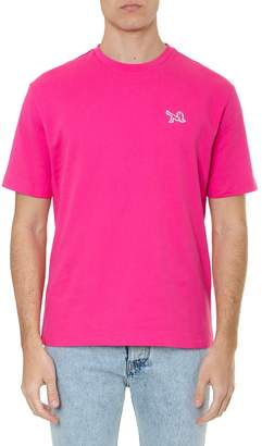 Calvin Klein Jeans Fuchsia Cotton T-shirt With Iconic Embroidery