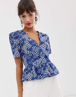 And other stories &  cotton blend wrap blouse in blue coffee bean print