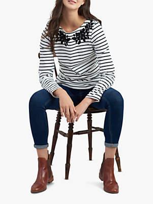 Joules Sequin Detail Stripe Jersey Top, Black/Cream