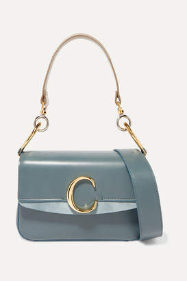 Chloé C Small Leather And Suede Shoulder Bag - Blue