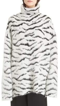 Givenchy Zebra Stripe Mohair Blend Turtleneck Sweater