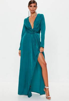 Missguided Teal Wrap Front Maxi Dress