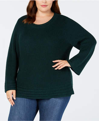 Style&Co. Style & Co Plus Size Lantern-Sleeve Contrast-Stitch Sweater