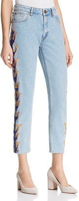 Sandro Flame Cropped Jeans $395 thestylecure.com