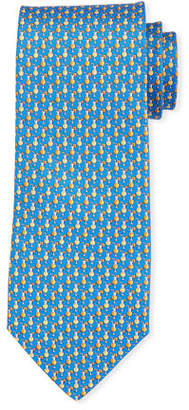 Salvatore Ferragamo Cocktail Print Silk Tie, Blue