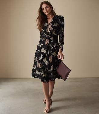 Reiss LITA TWIST FRONT BUTTERFLY PRINTED DRESS Multi