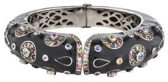 Rina Limor Fine Jewelry Multicolor Sapphire & Enamel Hinged Cuff