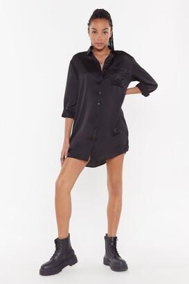 Nasty Gal Womens Smooth Operator Satin Shirt Dress - Black - 6, Black