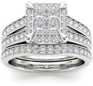 Imperial Diamond Imperial 1-1/2 Carat T.W. Diamond Split Shank Cluster Halo 14kt White Gold Engagement Ring Set