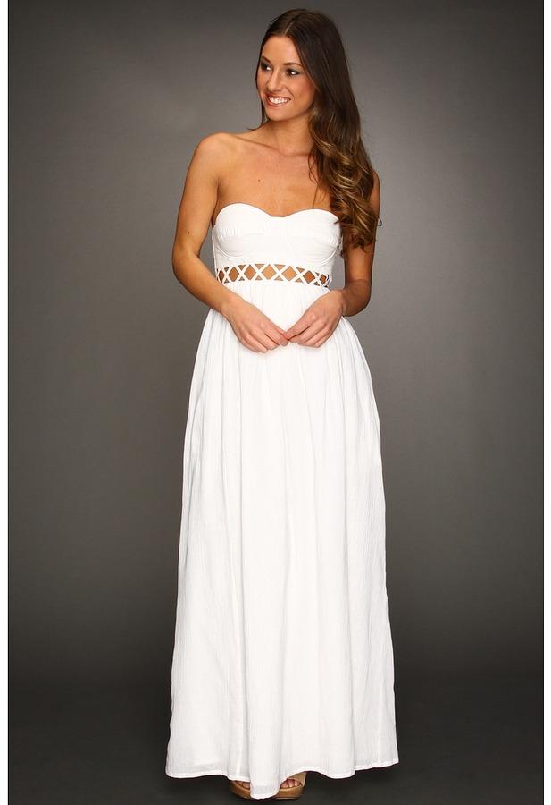 Mara Hoffman Lattice Strapless Dress (White) - Apparel