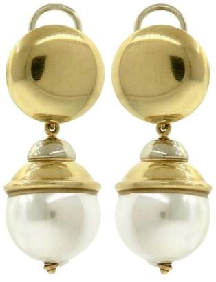 Omega 18K Yellow Gold & Faux Pearl Drop Dangle Earrings