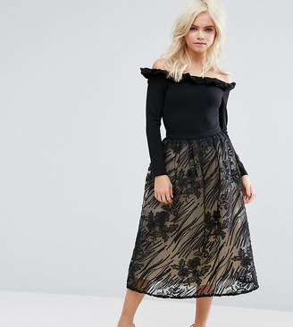 Little Mistress Petite Full Lace Midi Skirt