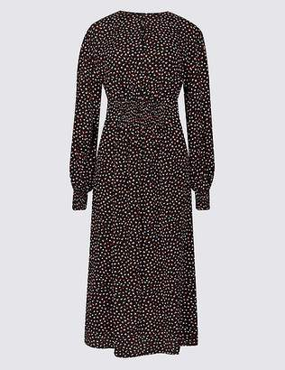 Marks and Spencer Spotted Long Sleeve Skater Midi Dress