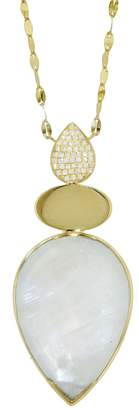Lito Fine Jewelry Triple Drop Diamond and Moonstone Necklace - Yellow Gold