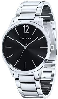 Cross Franklin Men's Quartz Watch with Black Dial Analogue Display and Silver Stainless Steel Bracelet CR8003-11