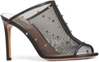 Valentino Studded Mesh Slide Sandal