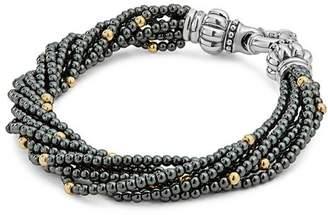 Lagos 18K Gold and Sterling Silver Caviar Icon Hematite Beaded Multi Strand Bracelet