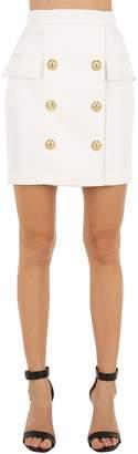 Balmain Cool Wool Mini Skirt W/ Buttons