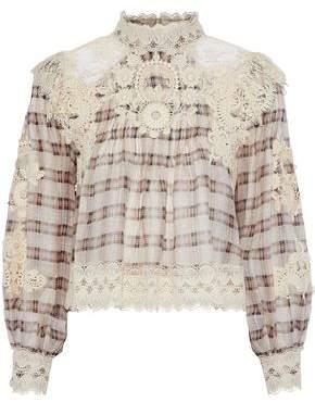 Zimmermann Bowerbird Embellished Plaid Silk And Linen-Blend Gauze Blouse