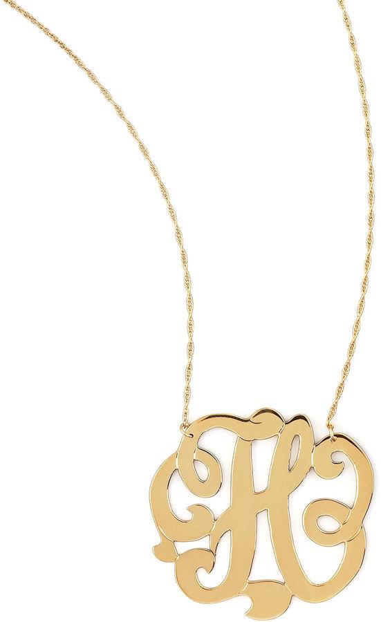 Jennifer Zeuner Jewelry Swirly Initial Necklace, H