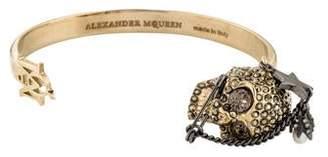 Alexander McQueen Faux Pearl & Crystal Piercing Skull Cuff