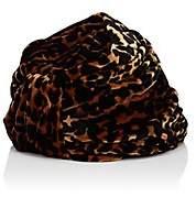 Albertus Swanepoel Women's Gloria Leopard-Pattern Velvet Turban Hat-Brown