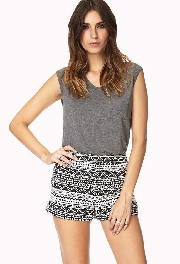 Forever 21 Geo Moment High-Waisted Shorts