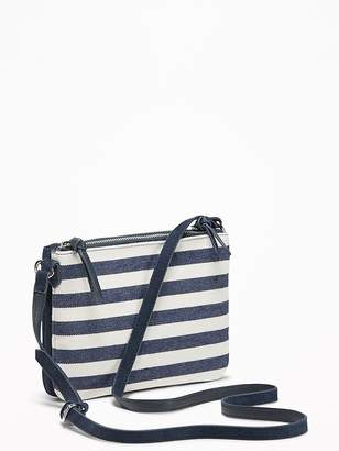 Old Navy Mixed-Material Dual-Zip Crossbody Bag for Women