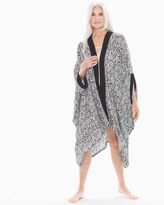 Rayon Challis Pajama Wrap Nomadic Scroll Black