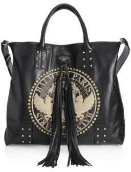 Balmain Domaine Leather Shopping Bag