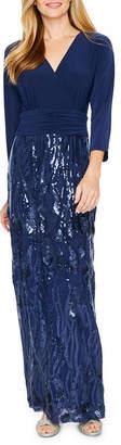 MAYA BROOKE Maya Brooke 3/4 Sleeve Sequin Evening Gown