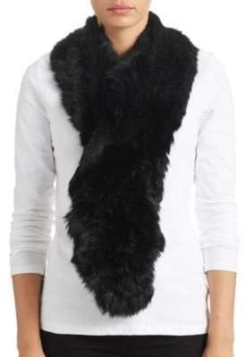 Surell Long Haired Rabbit Fur Ruffle Scarf