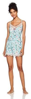 Selene Women's Knit Laced Cami Tank Top & Short Pajama Set